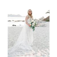 Elegant White Aline Sweep Train Strapless Sleeveless Appliques Lace Spring Zipper Up Outdoor Wedding