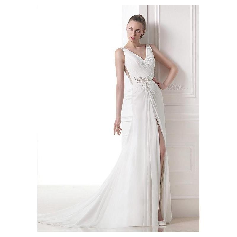 My Stuff, Elegant Chiffon V-neck Neckline Natural Waistline A-line Wedding Dress With - overpinks.co