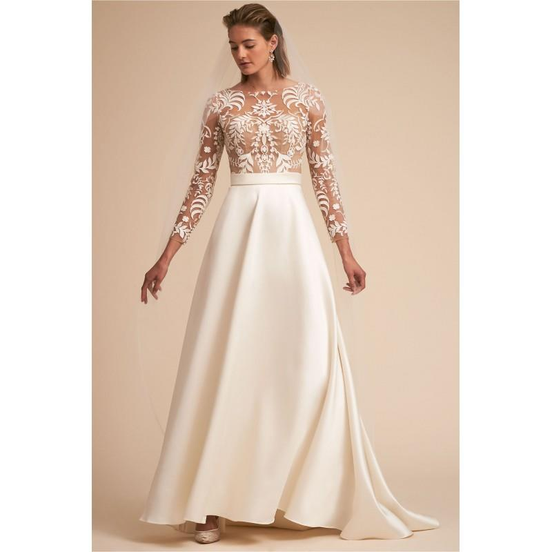 My Stuff, BHLDN Spring/Summer 2018 Serena Vintage Embroidery Aline Bateau Sweep Train Ivory Satin Lo