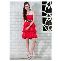 In Stock Fantastic Tencel Chiffon Strapless Neckline Short Tiered Prom Dress - overpinks.com