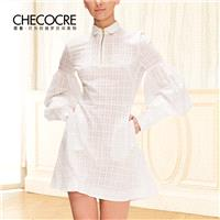 Attractive Curvy Bubble Sleeves Lattice It Girl 9/10 Sleeves Formal Wear Dress - Bonny YZOZO Boutiqu