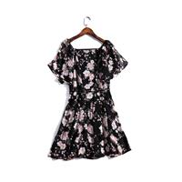 Fresh Printed Frilled Sleeves Slimming Curvy Chiffon Summer Dress - Lafannie Fashion Shop