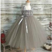 Free Shipping  to USA Custom Made Grey Tutu Dress-Dress for Flower Girls Available in Sizes Newborn