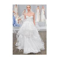 Monique Lhuillier - Spring 2015 - Riley Strapless Lace Ball Gown Wedding Dress with a Tiered Tulle S