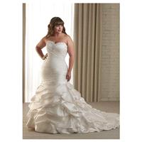 Charming Satin Sweetheart Neckline Natural Waistline Mermaid Plus Size Wedding Dress - overpinks.com