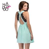 Sweet sexy deep v-cut Halter folds Eyelash lace stitching slim sleeveless dress - Bonny YZOZO Boutiq
