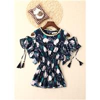 Ethnic Style Bohemia Printed Fringe Curvy Off-the-Shoulder Frilled Short Sleeves Bat Sleeves Blouse