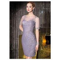 Chic Tulle Jewel Neckline Knee-length Sheath Mother Of The Bride Dress - overpinks.com