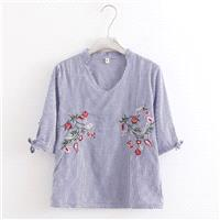 Must-have Oversized Vintage Embroidery V-neck Cotton Stripped Floral Blouse - Lafannie Fashion Shop