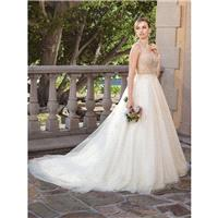 Casablanca Bridal 2018 2316 Sable Ball Gown V-Neck Sleeveless Elegant Chapel Train Champagne Tulle O