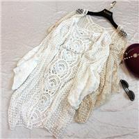 Oversized Crochet Batwing Sleeves Lace Summer Cardigan Coat - Discount Fashion in beenono