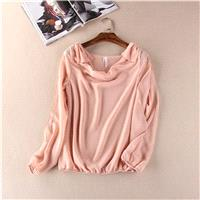 Bow Off-the-Shoulder One Color Long Sleeves Pile Collar Top Chiffon Top - Lafannie Fashion Shop