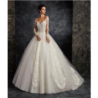 Ira Koval 2017 616 Sweep Train Long Sleeves Open Back Ball Gown Ivory Illusion Tulle Embroidery Dres