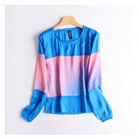 Oversized Contrast Color Slimming Long Sleeves Sunproof T-shirt Edgy Chiffon Top - Discount Fashion