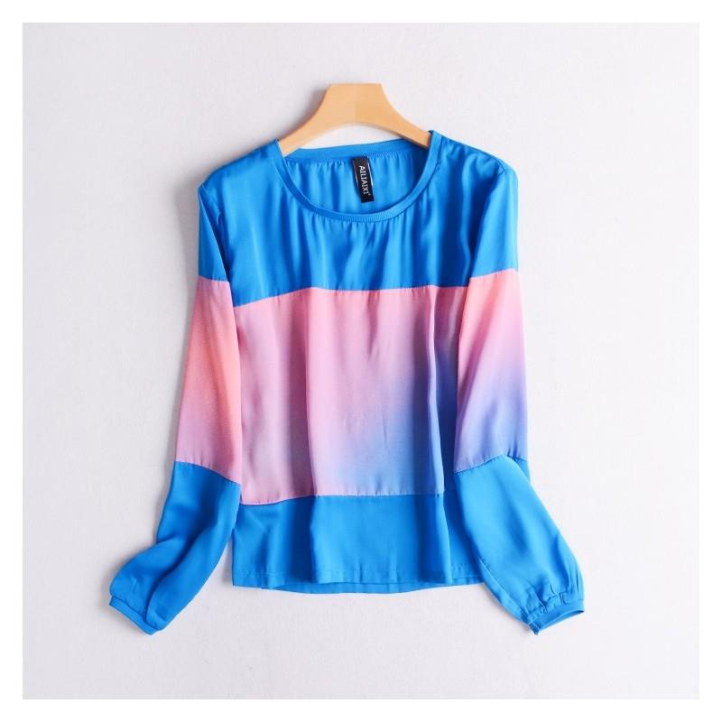 My Stuff, Oversized Contrast Color Slimming Long Sleeves Sunproof T-shirt Edgy Chiffon Top - Discoun