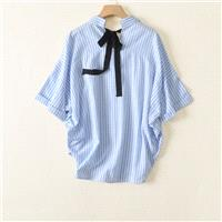 Oversized Simple Bow Bat Sleeves Blouse Stripped Short Sleeves Cozy Top Blouse - Lafannie Fashion Sh