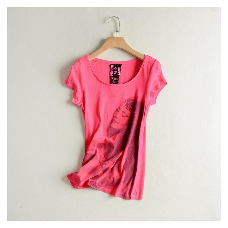 My Stuff, Casual Vogue Slimming Scoop Neck Short Sleeves Cotton Summer T-shirt Top Basics - Discount