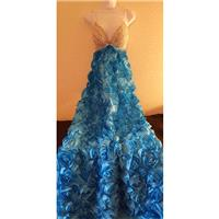Gaysby Inspired Blue Rose Crystal Rhinestone Bejeweled Empire Waist Bridal Wedding Formal Ball Gown