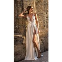 Muse by Berta 2018 BROOKE Sweep Train Sexy Ivory Column Sleeveless V-Neck Embroidery Satin Wedding D