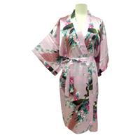 Sale Kimono Robes Bridesmaids Silk Satin Light Pink Colour Paint Peacock Desigh Pattern Gift Wedding