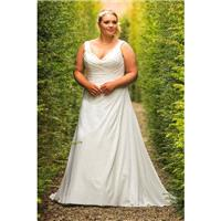 Plus-Size Dresses Style BB17515 by BB+ by Special Day - Ivory  White Chiffon Floor V-Neck A-Line Wed