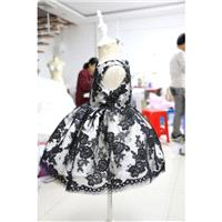 Baby Pageant Dress with Special Black Flower Lace, Birthday Dress for Toddlers, Newborn Party Dress,