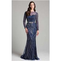 Lara Dresses - 32953 Beaded Long Sleeves Sheath Long Dress - Designer Party Dress & Formal Gown