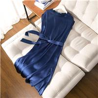 Simple Attractive Slimming Scoop Neck Mulberry Silk One Color Short Sleeves Silk Dress - Lafannie Fa