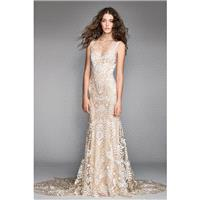 Willowby by Watters Spring/Summer 2018 Corella 50104 Champagne V-Neck Fit & Flare Open V Back Lace E