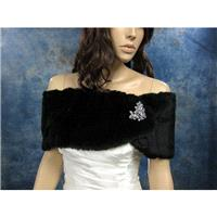 Black faux fur wrap bridal shrug stole shawl FW006-Black - Hand-made Beautiful Dresses|Unique Design