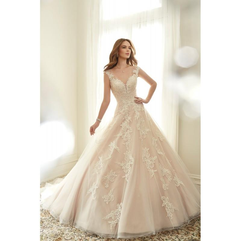 My Stuff, Style Y11705 by Sophia Tolli - Coffee  Ivory  White  Blush Tulle Lace-Up Fastening Floor S