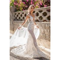 Elihav Sasson 2018 Cap Sleeves Fit & Flare Nude Beading Keyhole Back Sexy Lace Chapel Train Illusion