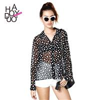 Irregularly arranged dots long blouse sleeves wide lapels perspective the wind - Bonny YZOZO Boutiqu
