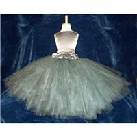 Shabby Chic Charcoal Gray & Silver Satin Flowergirl Tutu Dress Corset Top and Fluffy Tutu Skirt Vint