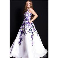 Jovani - 60897 Plunging V-Neck Floral Print Ballgown - Designer Party Dress & Formal Gown
