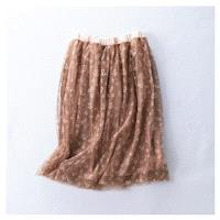 Must-have Banded Waist Organza Floral Mid-length Skirt Skirt - Discount Fashion in beenono