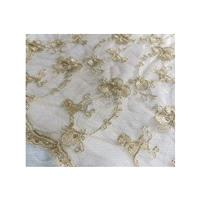 Gold Embroidery Lace Fabric, 47 inches Wide for Wedding Dress, Veil, Costume, Craft Making, 1/2 Yard