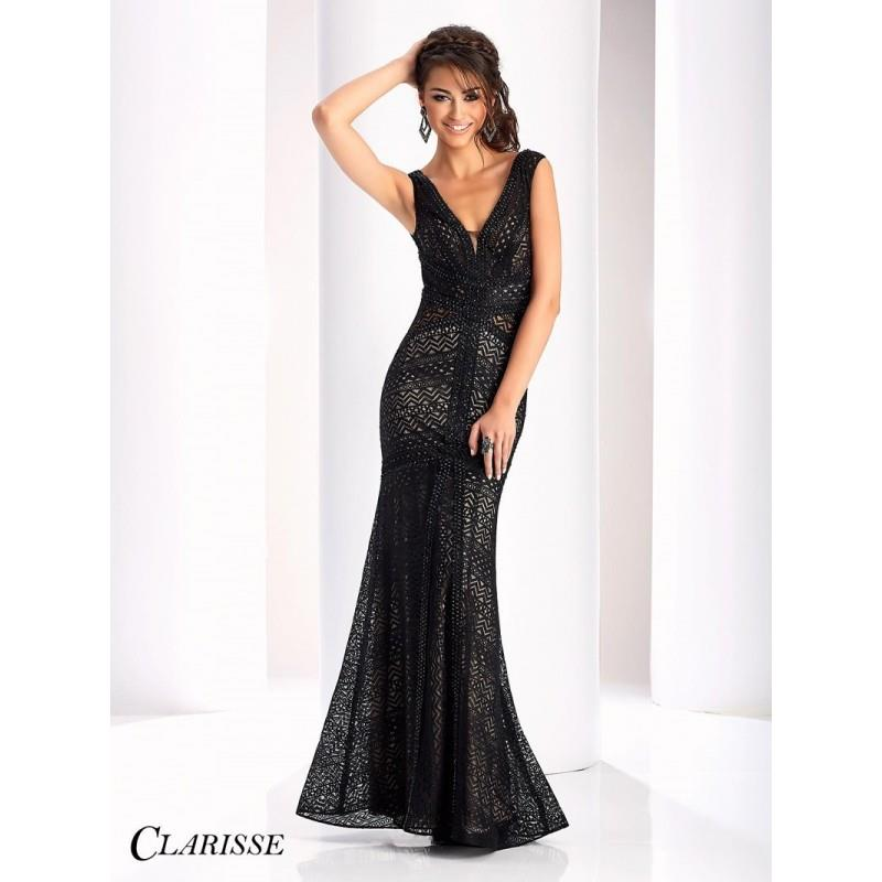 My Stuff, Clarisse 4805 Evening Dress - Clarisse V Neck Drop Waist, Fit and Flare Prom Long Dress -