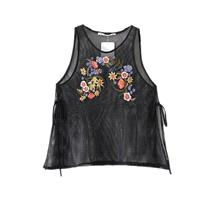 Seen Through Embroidery Slimming Scoop Neck Sleeveless Lace Up Floral Summer Top Sleeveless Top - La