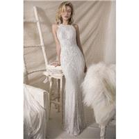 Lihi Hod Fall/Winter 2018 Melissa Sweep Train Halter Sheath Sleeveless Ivory Elegant Lace Beading Ou