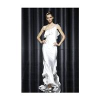Pronovias - Fall 2012 - One-Shoulder Silk Satin Sheath Wedding Dress with a Ruffle Neckline - Stunni