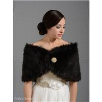 Black faux fur bridal wrap shrug stole shawl cape FW005-Black regular / plus size - Hand-made Beauti