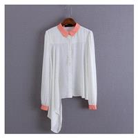 Must-have Polo Collar Long Sleeves Chiffon One Color Blouse - Discount Fashion in beenono