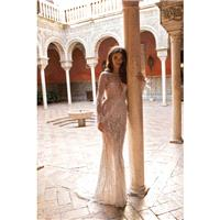 Berta Fall/Winter 2018 Style 18-118 Nude Sweep Train Sexy Sequined Feather Fit & Flare Long Sleeves