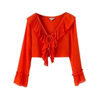 Must-have Flare Sleeves One Color Frilled Long Sleeves Crop Top Top Blouse - Lafannie Fashion Shop