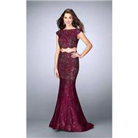 Two Piece Lace Overlay Scallop Edge Detail Long Prom Dress 24047 - Designer Party Dress & Formal Gow