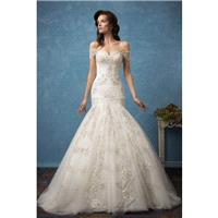 Amelia Sposa 2017 Rosa Royal Train Sweet Ivory Off-the-shoulder Trumpet Covered Button Short Sleeves