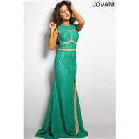 Jovani Green Sleeveless Lace Prom Dress 25007 -  Designer Wedding Dresses|Compelling Evening Dresses
