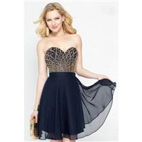 Alyce Paris - Bejeweled Sweetheart A-line Dress in Navy-Gold 46573 - Designer Party Dress & Formal G