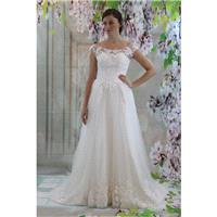 Boat neckline  V-back bridal gown, lace applique a-line wedding dress - Hand-made Beautiful Dresses|